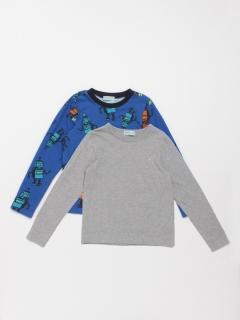 [ジュニアサイズ・ボーイズ]ロボットプリント裏毛トレーナーTシャツセット(セット商品)