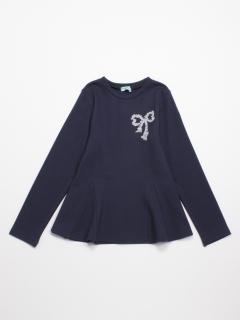 [ジュニアサイズ]ポンチ圧縮ジャージ長袖AラインTシャツ