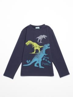 [ボーイズ]ポンチ圧縮ジャージ恐竜プリント長袖Tシャツ