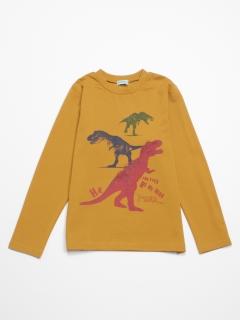 [ジュニアサイズ・ボーイズ]ポンチ圧縮ジャージ恐竜プリント長袖Tシャツ