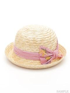 ストライプミモザ刺繍リボン付きハット