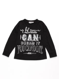 [ジュニサイズ・h/BOY・ボーイズ]メッセージプリント長袖Tシャツ