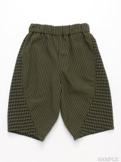 [ジュニアサイズ・ボーイズ]ストライプ切替5分丈パンツ
