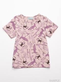 [ジュニアサイズ]HAKKA45周年記念「スイミーデザインラボ」コラボ アニマル総柄プリント半袖Tシャツ