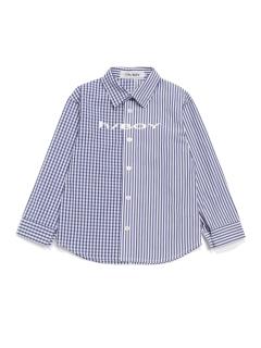 [h/BOY・ボーイズ]ストライプギンガムチェックMIX長袖シャツ