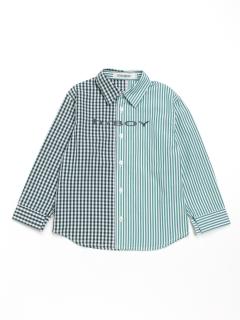 [ジュニアサイズ・h/BOY・ボーイズ]ストライプギンガムチェックMIX長袖シャツ