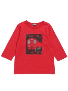 [ジュニアサイズ・ボーイズ]電車プリント7分袖Tシャツ