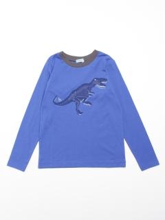 [ジュニアサイズ]恐竜プリント長袖Tシャツ