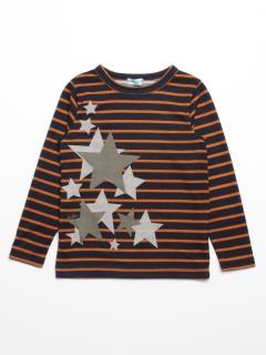 [ボーイズ]スタープリントボーダー長袖Tシャツ