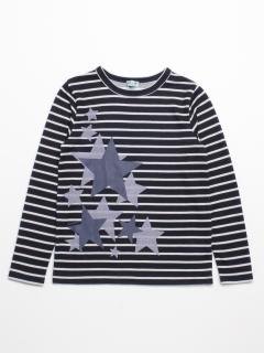 [ジュニアサイズ・ボーイズ]スタープリントボーダー長袖Tシャツ