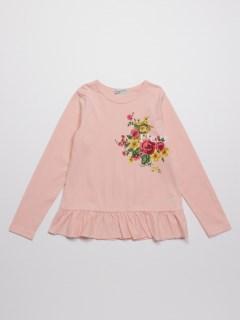 [ジュニアサイズ]フラワープリント裾フリル長袖Tシャツ