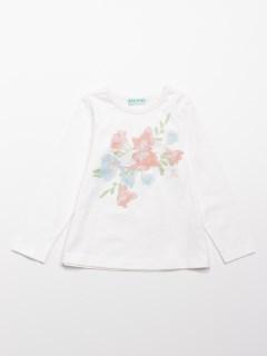 [ジュニアサイズ]フラワープリント長袖Tシャツ