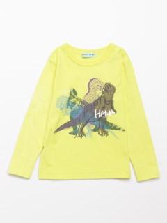 [ボーイズ]恐竜プリント長袖Tシャツ