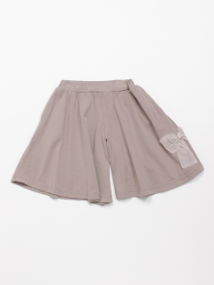 [ジュニアサイズ]シルケット天竺リボンモチーフ付きキュロットスカート
