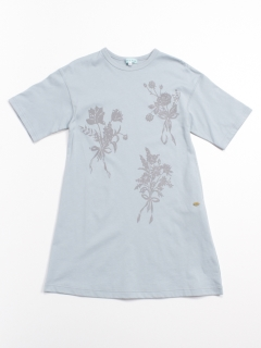 [ジュニアサイズ]花束プリントリラックスワンピース