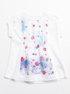 マリンフラワープリント半袖チュニックTシャツ