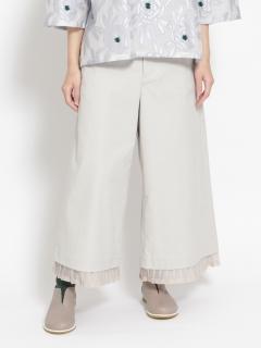 クールマックスオックス裾プリーツワイドパンツ