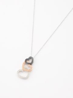 ブラックダイヤモンド&ホワイトダイヤモンドハートペンダントネックレス(AMOUR認定カード付き)