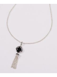 ブラック キュービックジルコニウム&クリスタル スターリングシルバータッセル ネックレス(AMOUR認定書カード付)