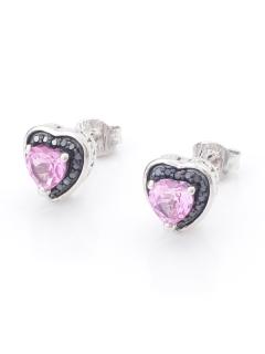 ピンクサファイア&ブラックダイヤモンドハートピアス(AMOUR認定カード付き)