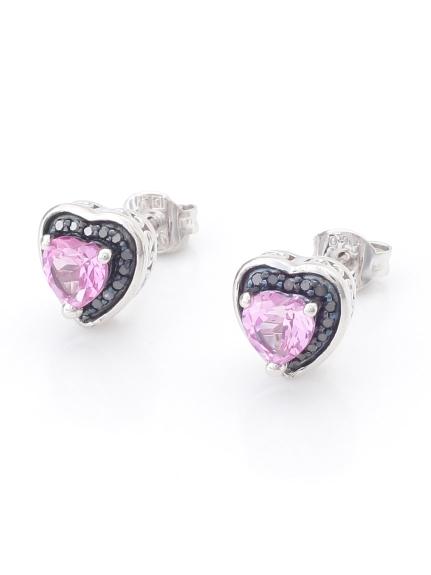 AMOUR (アムール) ピンクサファイア&ブラックダイヤモンドハートピアス(AMOUR認定カード付き) ピンクサファイア