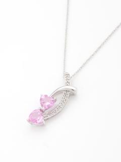 ダイヤモンド&ピンクサファイアトゥーハートネックレス(AMOUR認定カード付き)