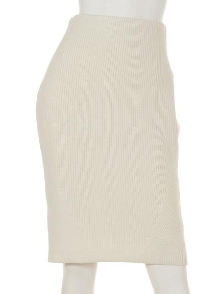 MICHEL KLEIN (ミッシェルクラン) リブニットタイトスカート オフホワイト