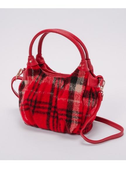 MK MICHEL KLEIN BAG (エムケーミッシェルクランバッグ) チェック2WAYバッグ 赤