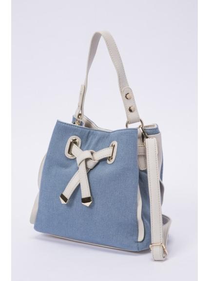 MK MICHEL KLEIN BAG (エムケーミッシェルクランバッグ) 巾着型ミニバッグ ブルー