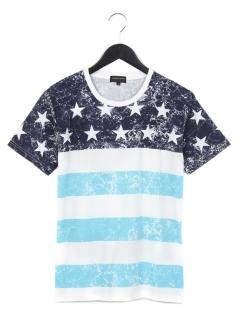 パネル星条旗プリントTシャツ