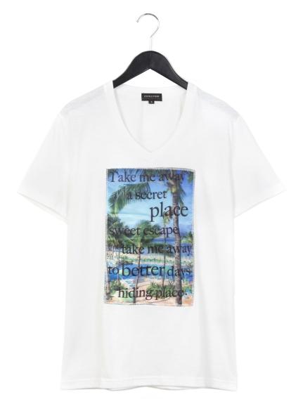 EVOLUTION (エボリューション) 3DプリントVネックTシャツ オフ1