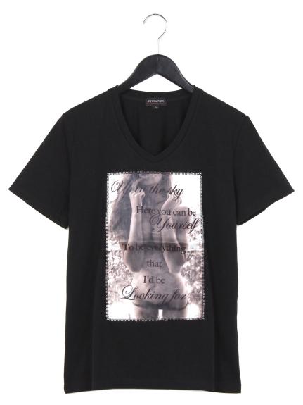 EVOLUTION (エボリューション) 3DプリントVネックTシャツ ブラック