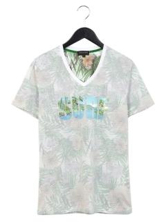 胸ロゴプリントVネックTシャツ