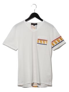 波柄刺繍ポケットTシャツ