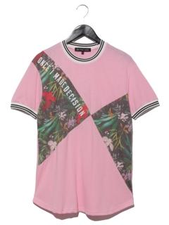 ラインリブ花柄切替tシャツ
