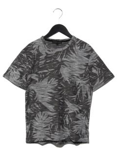 スラブボタニカル柄プリントTシャツ