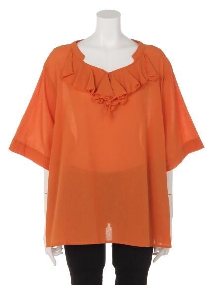 MB mint breeze (エムビーミントブリーズ) MB mintbreezeフリルブラウス オレンジ