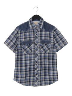 【JOEY FACTORY】デニム切替チェックウエスタンシャツ