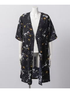 花柄ガウン+リブTシャツセット