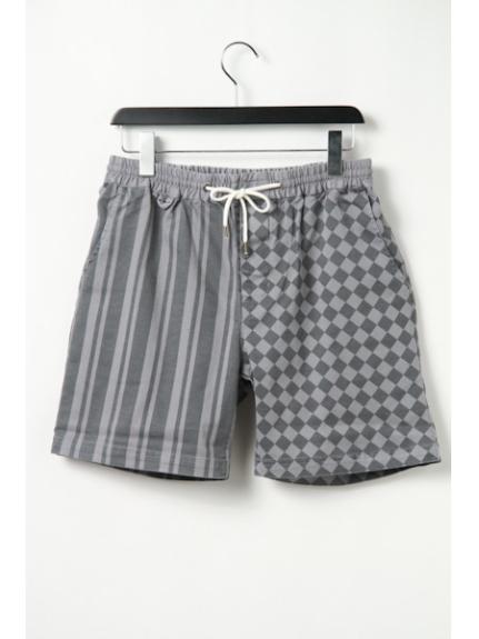 MAGIC NUMBER (マジックナンバー) Strech Twill Stripe & Checker Pattern Easy Shorts Grey
