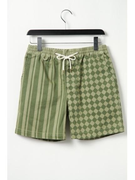 MAGIC NUMBER (マジックナンバー) Strech Twill Stripe & Checker Pattern Easy Shorts OLIVE