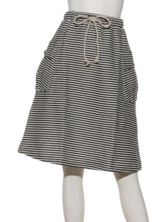ビッグポケットミディ丈ボーダースカート