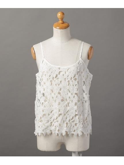 huitieme nid (ユイッティームニ) 花柄レースキャミブラウス オフホワイト