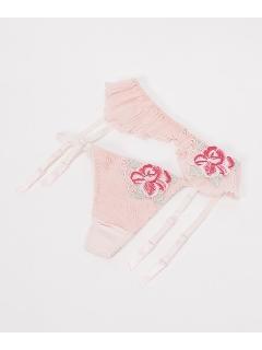 【セット】シフォンプリーツ薔薇モチーフガーターセット