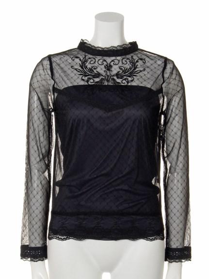 Marblee (マーブリー) チュール刺繍ブラウス ブラック