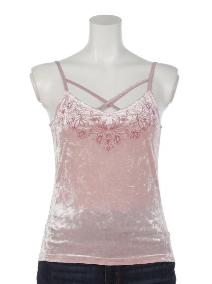 Marblee (マーブリー) エンブロイダリーベロアキャミ ピンク