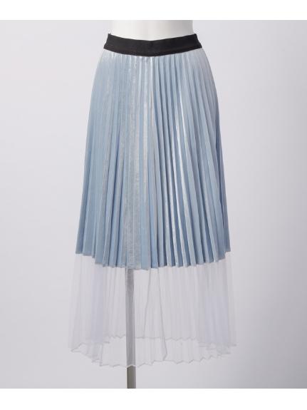 Titilate Valet (ティティレイトヴァレット) 裾切替プリーツスカート サックス