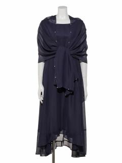 【Luxe brille】シフォンストール付き裾ビーズトリミングシフォンロングワンピース