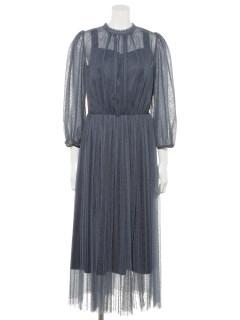 ストライプチュール袖付ドレス