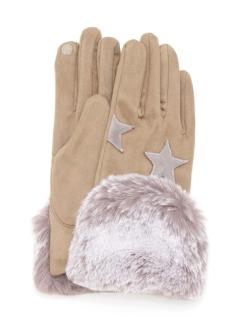 エコファー付星柄パッチワーク手袋